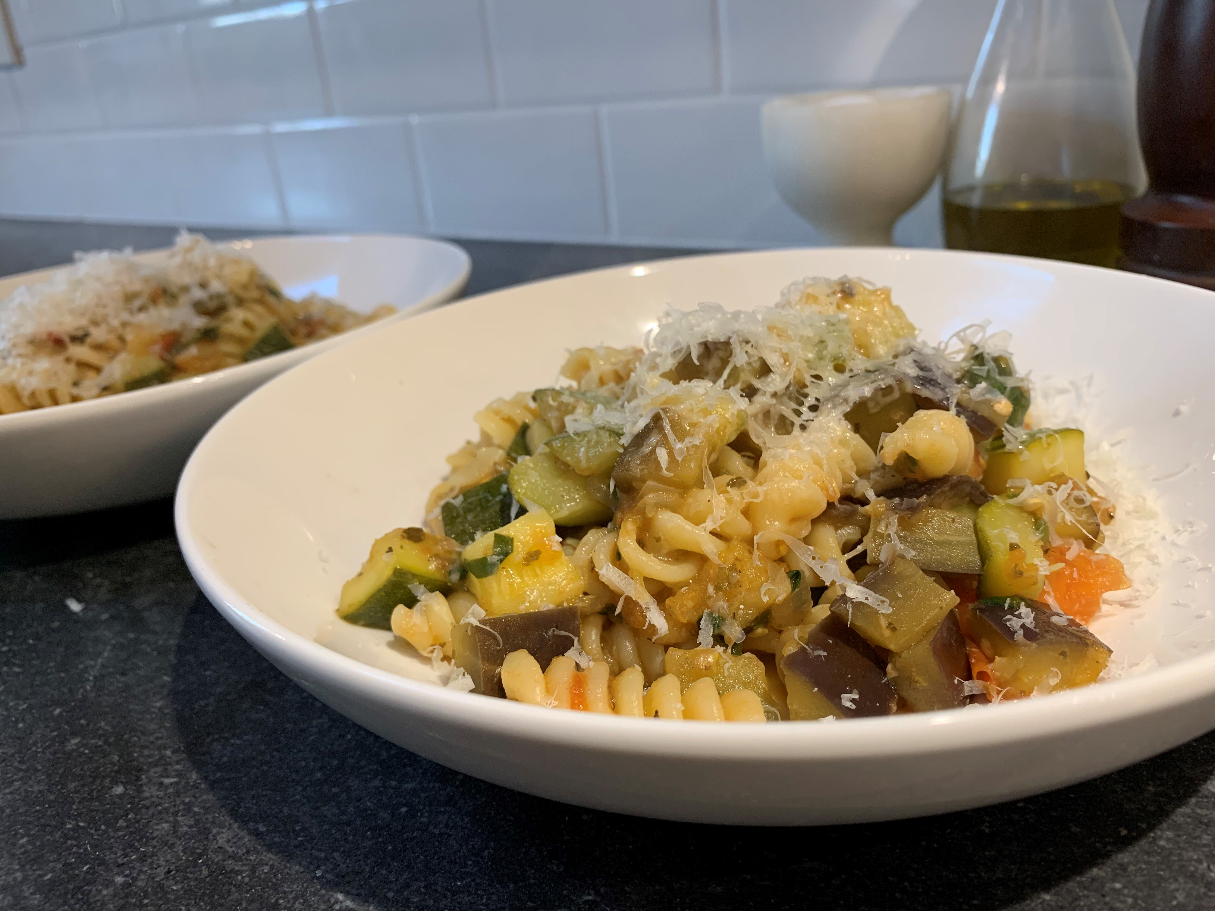 The finished product: delicious ratatouille pasta
