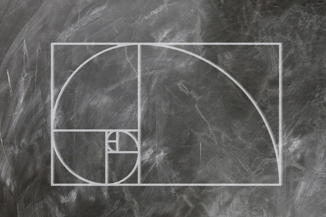 The fibonacci sequence draw in chalk on a chalkboard