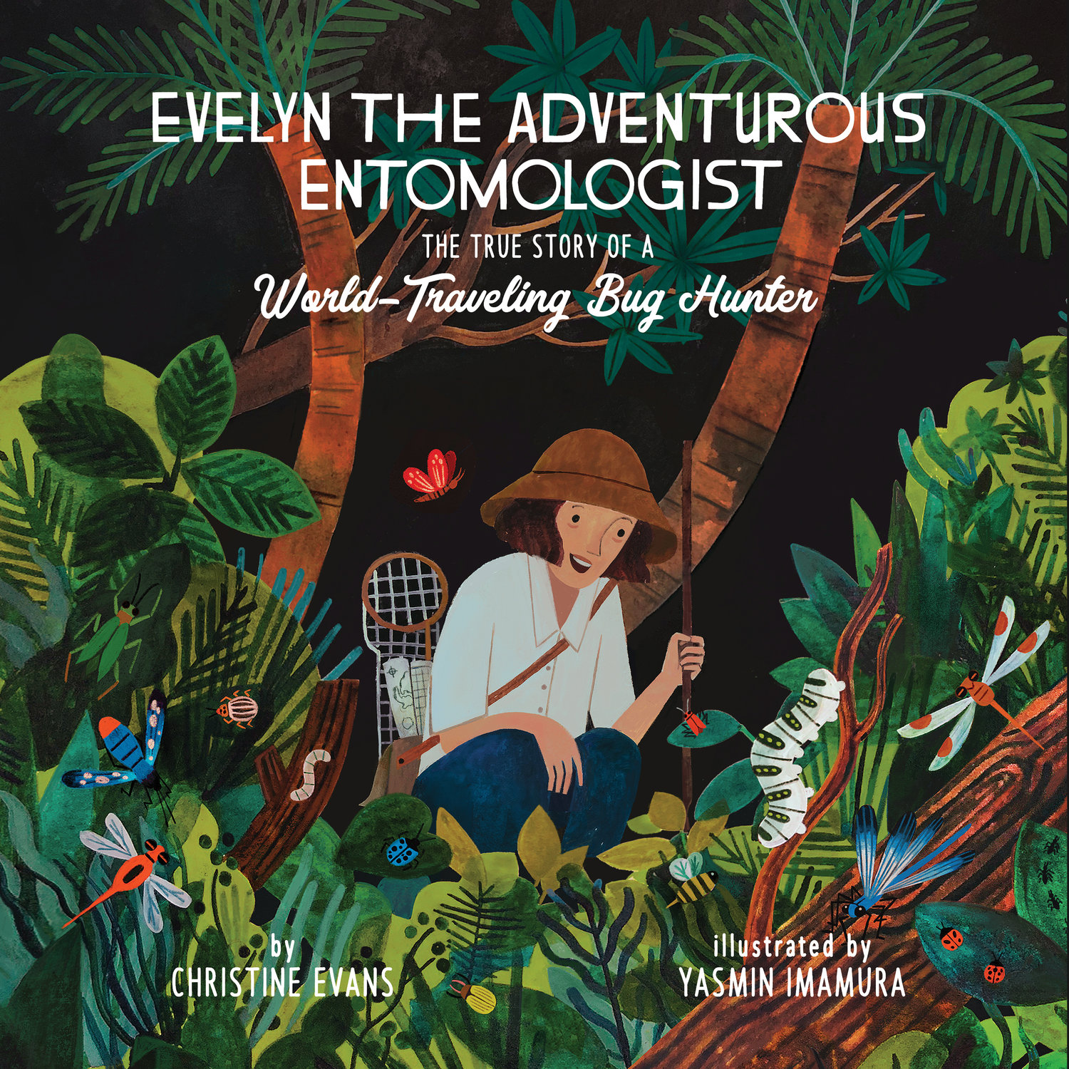 An illustration of a woman observing bugs in a jungle on the cover of a book